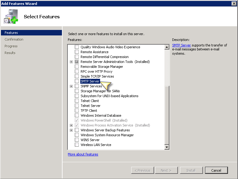 Configuring Windows SMTP Server on Windows 2008 for Relay