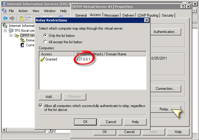 Configuring Windows SMTP Server on Windows 2008 for Relay - IntelliTect