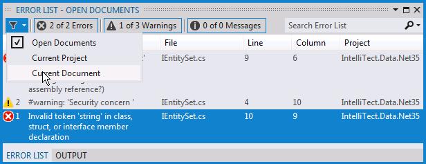 Visual Studio 11 Error List