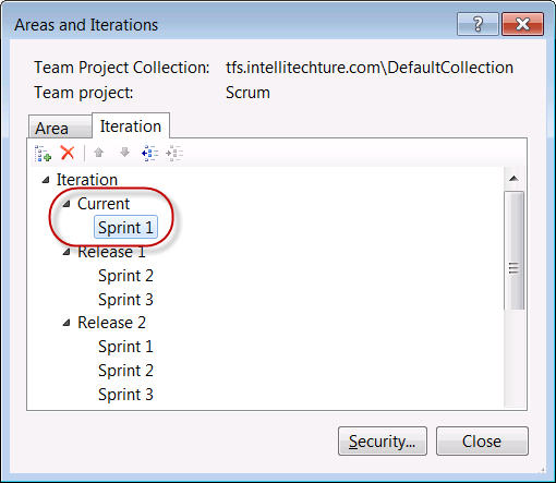 Insert Current release node into Areas and Iterations dialog