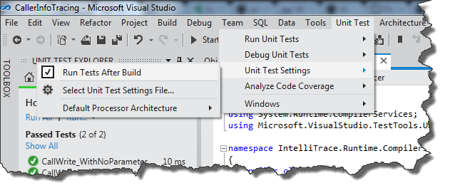 Activating Continuous Unit Testing In Visual Studio 11