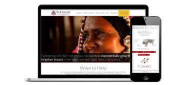 Partners International Responsive website for non-profit gift catalog