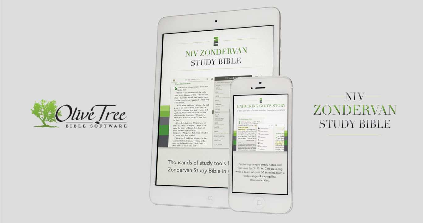 Olive Tree Bible software logo with phone and tablet images plus NIV Zondervan Study Bible