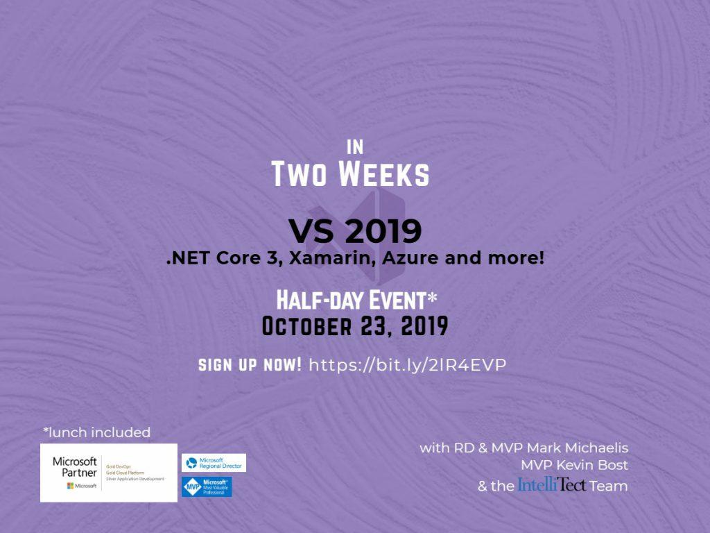 Invite graphic for our 2019 Visual Studio event.