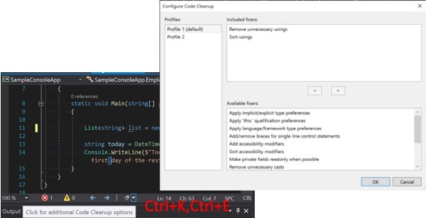 Screenshot showing code cleanup options