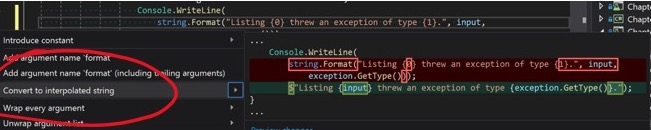 Screenshot showing how to convert to interpolated string