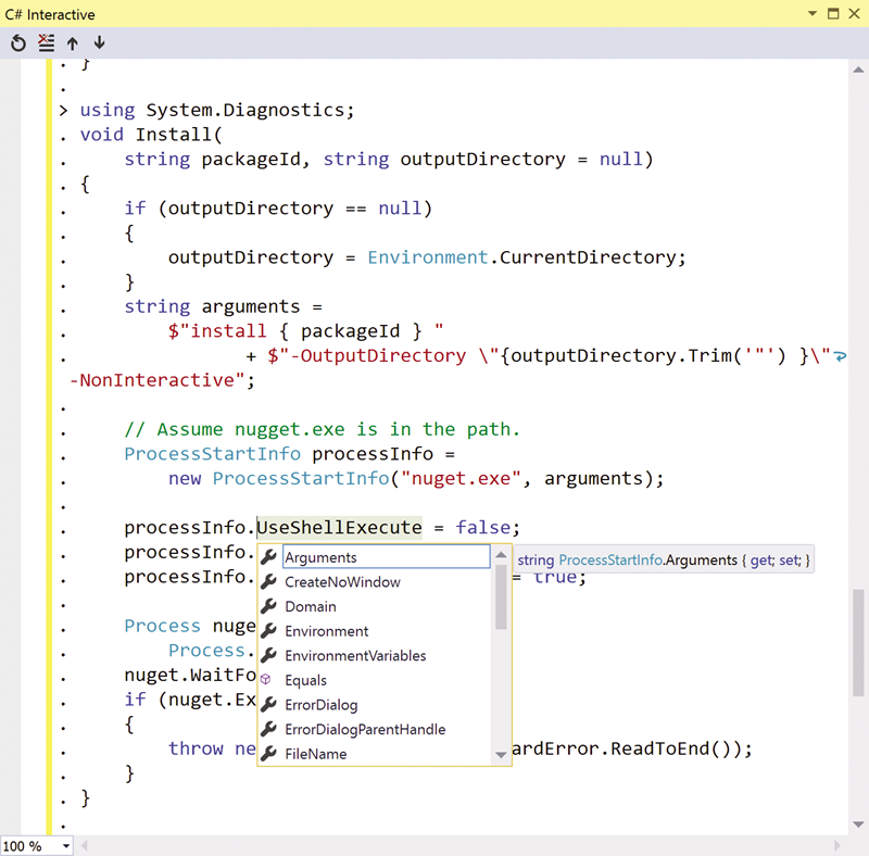 Figure 5 Declaring a C# Script Function Outside of a Class Using the Visual Studio C# Interactive Window