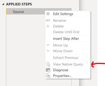 screenshot showing query folding options.