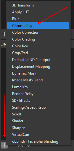 Adding new Chroma Key filter in lower Effects Filters