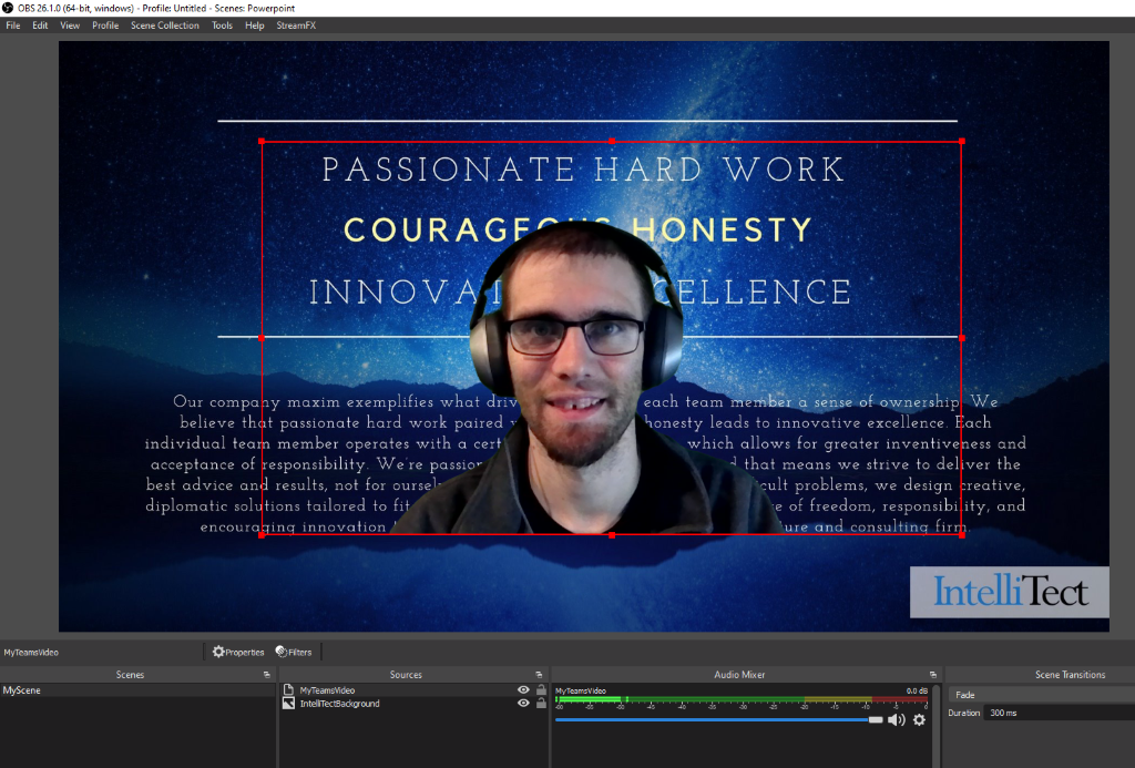Professional look using an NDI video source within OBS
