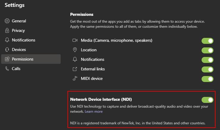 Enable NDI in Microsoft Teams