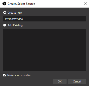 Creating a new NDI source