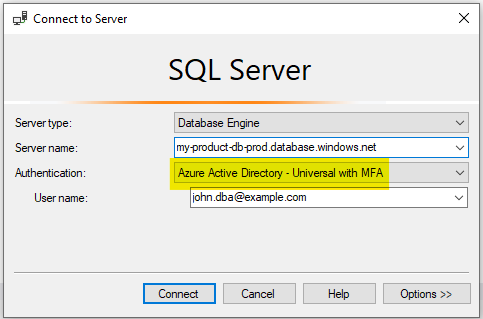 SQL Server multi-factor authentication in a Database Engine