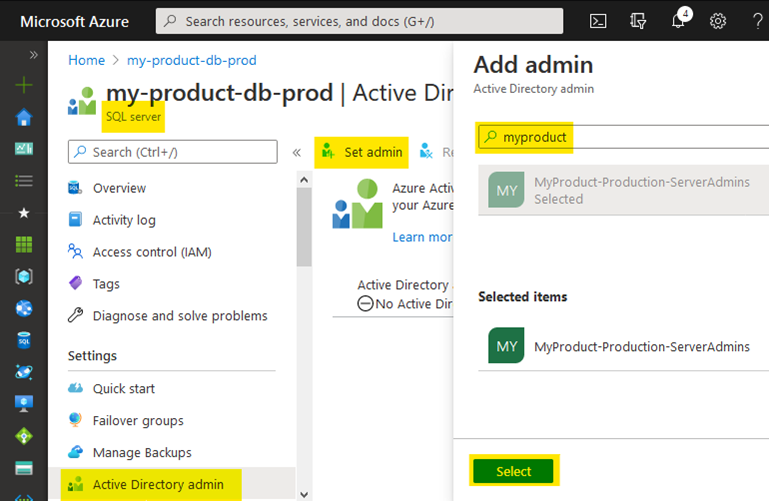 Assigning an AAD admin to an Azure SQL Server