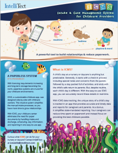 Flier explaining about IntelliTect's crisis nursery software