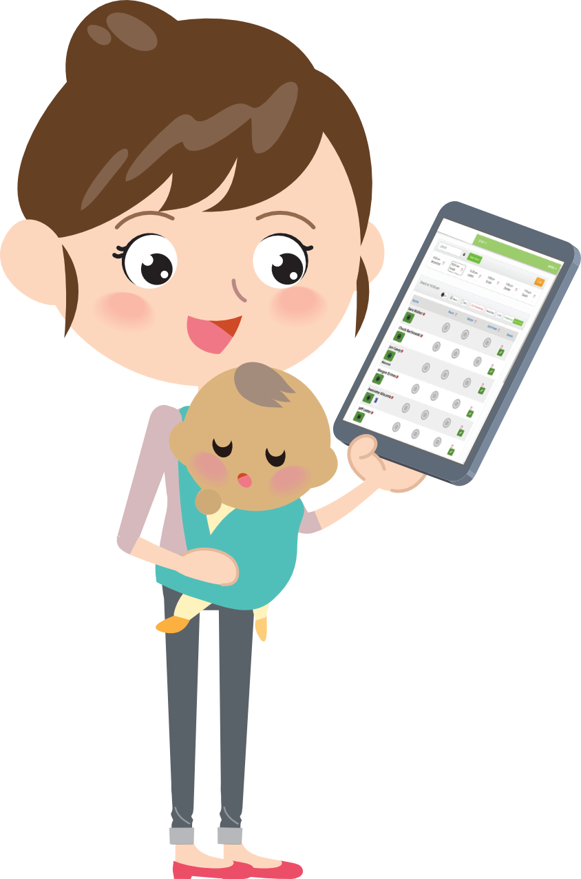 Woman holding app of ICMS, IntelliTect's crisis nursery software